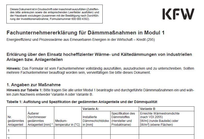 Fachunternehmererklärung für Modul 1 für Dämmungen