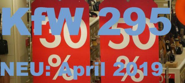 """Bild von Schaufenster mit Verkaufsprozenten und als Schriftzug """"KfW295 April2019"""""""
