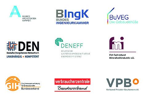 Neun Logos von Interessenvertretungen zur Energieberatung