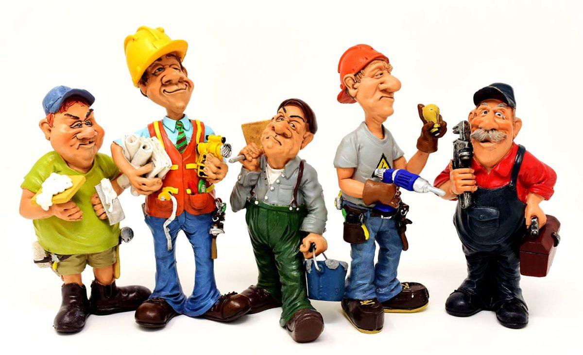 Lustige Figuren Handwerker