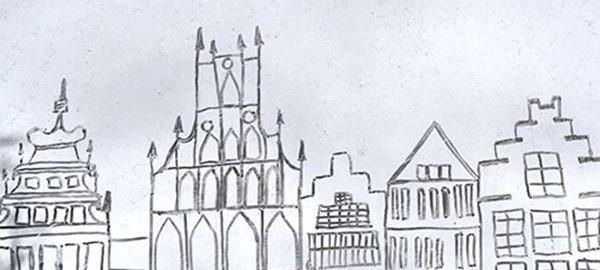 Zeichnung vom Umriss der Innenstadt Münster