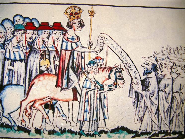 Bild aus dem Mittelalter zeigt Übergabe eines Schriftstücks