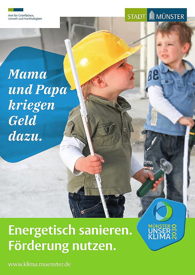 Werbefoto aus Münster mit zwei Kindern, die als Bauarbeiter verkleidet sind